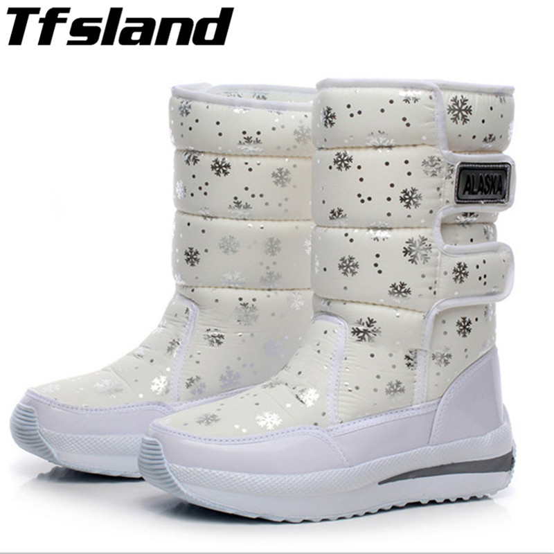 Womens Waterproof Snow Boots Snowflake Cotton Super Warm Sneakers Women Winter Platform Ankle Shoes Snowboarding & Skiing Shoes