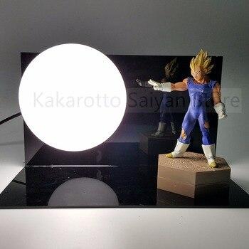 Dragon Ball Z Action Figures Evil Vegeta Super Saiyan KAMEHAMEHA Anime Dragon Ball Light Model Toy DBZ +Bulb+Base
