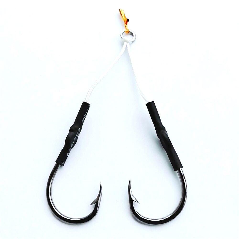 5 stücke edelstahl assist haken jigging angelhaken mit pe linie köderhaken