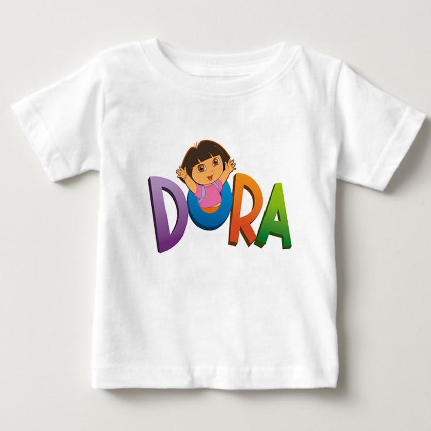 2-12Y Kids Girls Dora T Shirt Children Girl Summer 3D printingT-shirt Cartoon Dora Tshirt Short Sleeve Tops Tees baby boy shirt