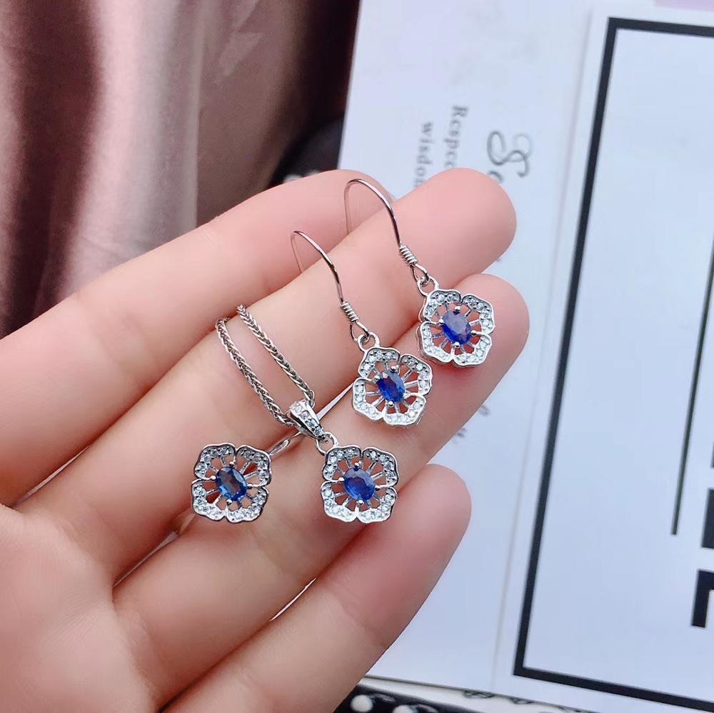 Neue art Blue sapphire edelstein schmuck set einschließlich ring ohrringe halskette mit 925 silber