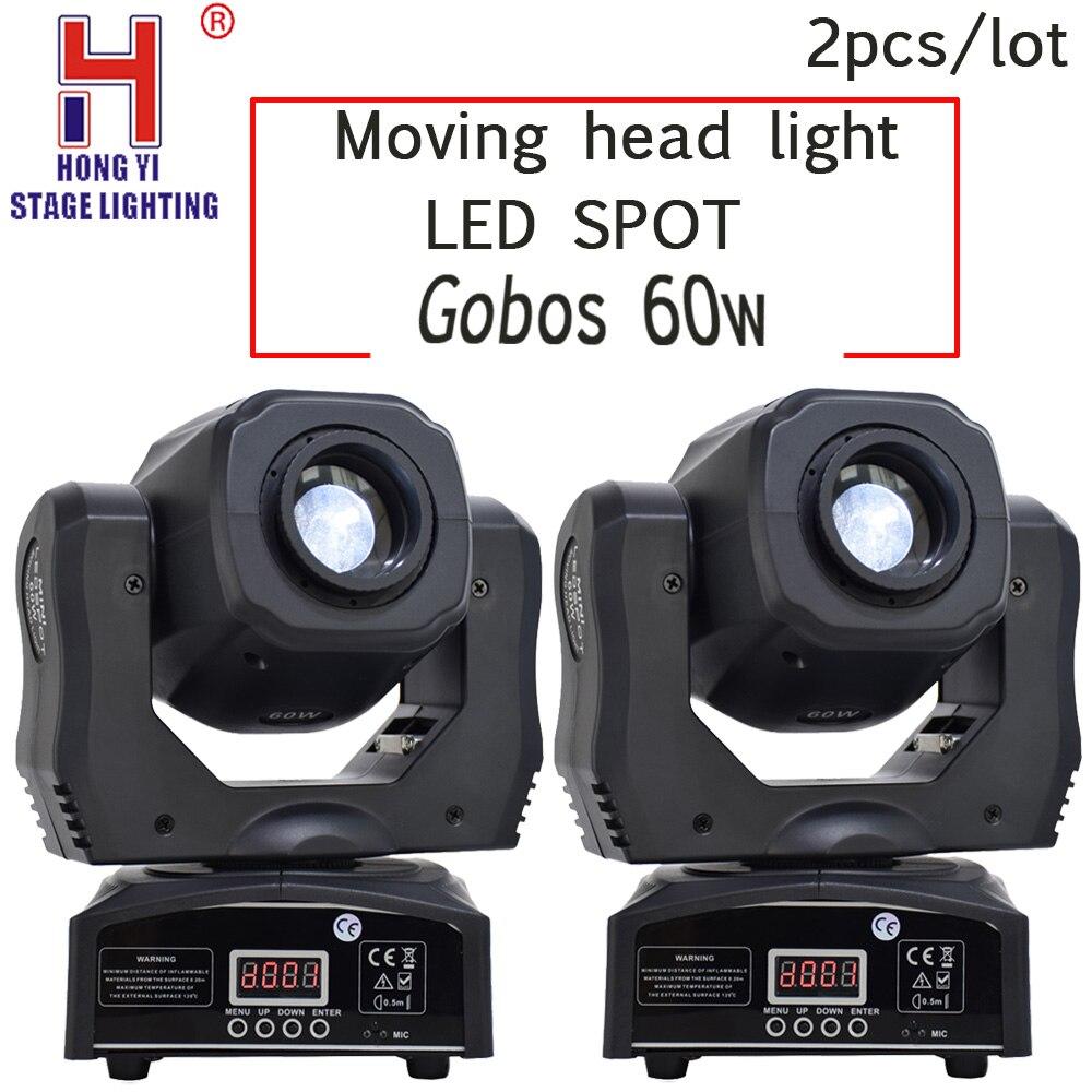 Led Spot moving head light gobos 60w DMX512 professional dj par party show stage lighting 2PCS