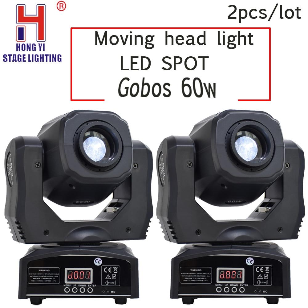 Led Spot moving head light gobos 60w DMX512 professional dj par party show stage lighting 2PCS/LOT