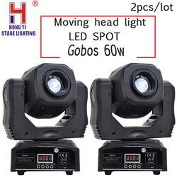 Led ponto movendo a cabeça luz gobos 60w dmx512 profissional dj par festa mostrar iluminação de palco pçs/lote