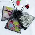 200pcs/lot Black Organza Jewelry Gift Bags 11x16cm Drawstring Bags Wedding Candy Bags& Pouch Free Shipping