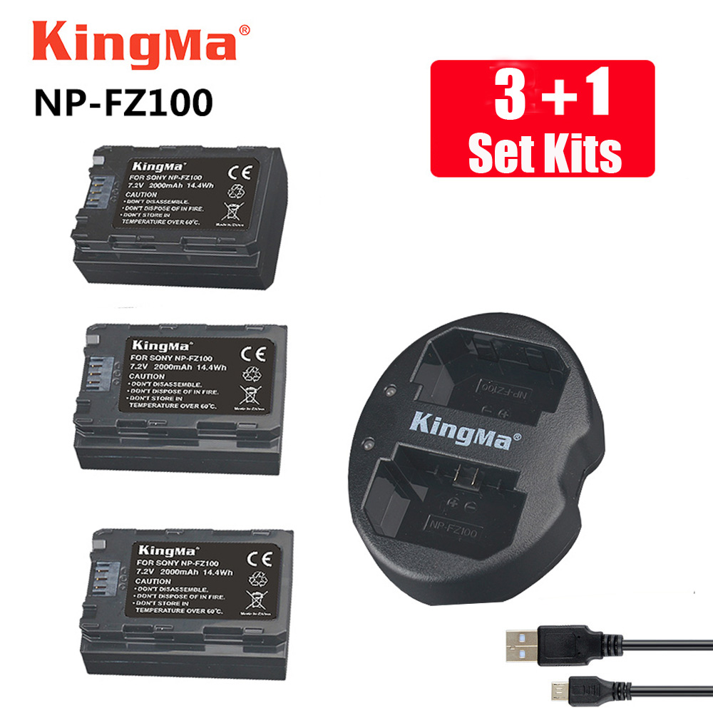 KingMa npfz100 Battery Charger +3pcs NP FZ100 NP-FZ100 Camera Battery for SONY ILCE-9 A7m3 a7r3 A9/A9R 7RM3 BC-QZ1 Alpha 9 9S 9R 3x 2280mah np fz100 npfz100 np fz100 battery for sony a9 a9r 9s bc qz1 alpha 9 ilce 9 a7r ilce 7rm3 a7 iii ilce 7m3 ilce 7m3k