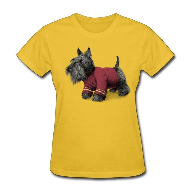 Envío libre Collar Mujer Ronda Scotty Shirts Mujeres 100% Algodón Manga Corta T Camisa del personalizar una camiseta