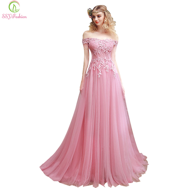 2017 SSYFashion New Sweet Pink Lace Embroidery Evening Dress The Bride Slim  Sexy Sweep Train Long Prom Dress Custom Party Gown b03df5505f39