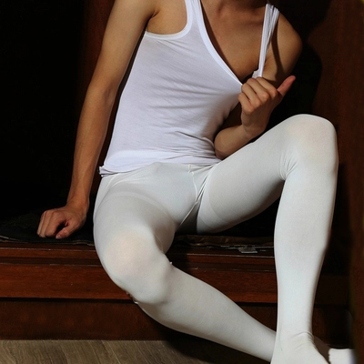 2017 Men's pure white dance stockings Men tights Body Suit thick pantyhose sexy socks white pantyhose Gay underwear stocking