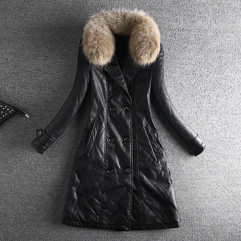 2018 Winter Women Black Thick Plus Velvet PU Faux   Leather   Jackets With Real Fur Collar Female Coat Medium Long Turn-down Collar
