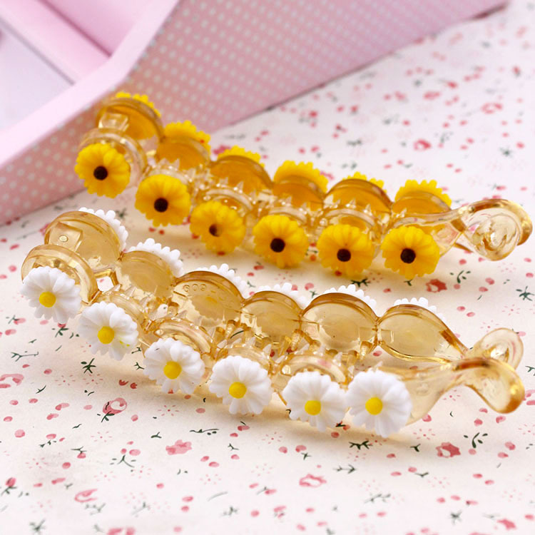 Hair accessories Daisy flower banana clips Acrylic Korean horsetail vertical clip to tire hairpin halloween party zombie skull skeleton hand bone claw hairpin punk hair clip for women girl hair accessories headwear 1 pcs