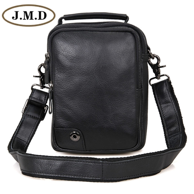 dfafcab59773 J.M.D J.M.D Genuine Leather Black Small Men s Sling Bag Messenger Bags For  Phone Purse 1007A