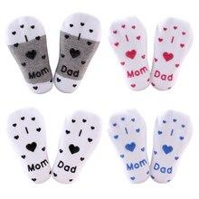 Носки для младенцев, нескользящие носки-тапочки для мальчиков и девочек Sokken люблю мама папа, носки с буквами мягкие удобные Calcetines de bebe