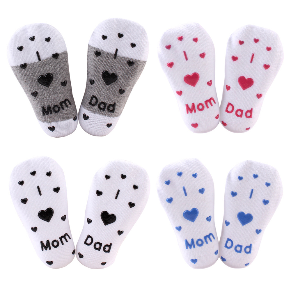 Baby Socks Infant Boy Girl Slip-resistant Floor Socks Sokken Love Mama Papa Letter Socks Soft Comfortable Calcetines De Bebe