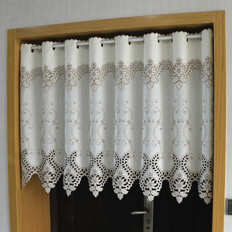 Half-curtain Leaves Flower Embroidered Wear Curtain Cloth Blackout Curtain Embroidery Hem Curtain for Kitchen Cabinet Door