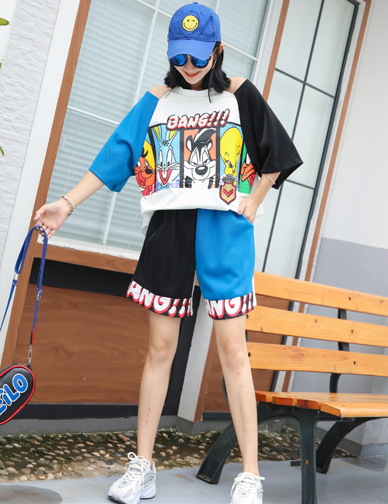 Student Girls Cute Cartoon Clothes Set Hollow Out Shoulder Tees Elastic Waist Short Pants