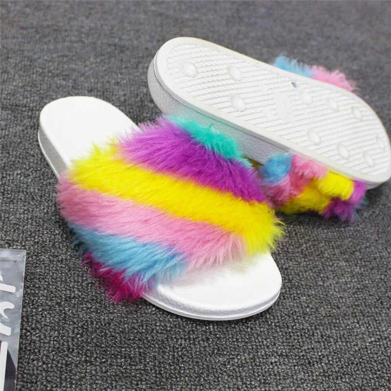 657488e80f7f ... Women Fur Slippers Fashion Rainbow Flip Flops Sandals Plush Warm Indoor  Home Slippers Summer Comfortable Woman ...