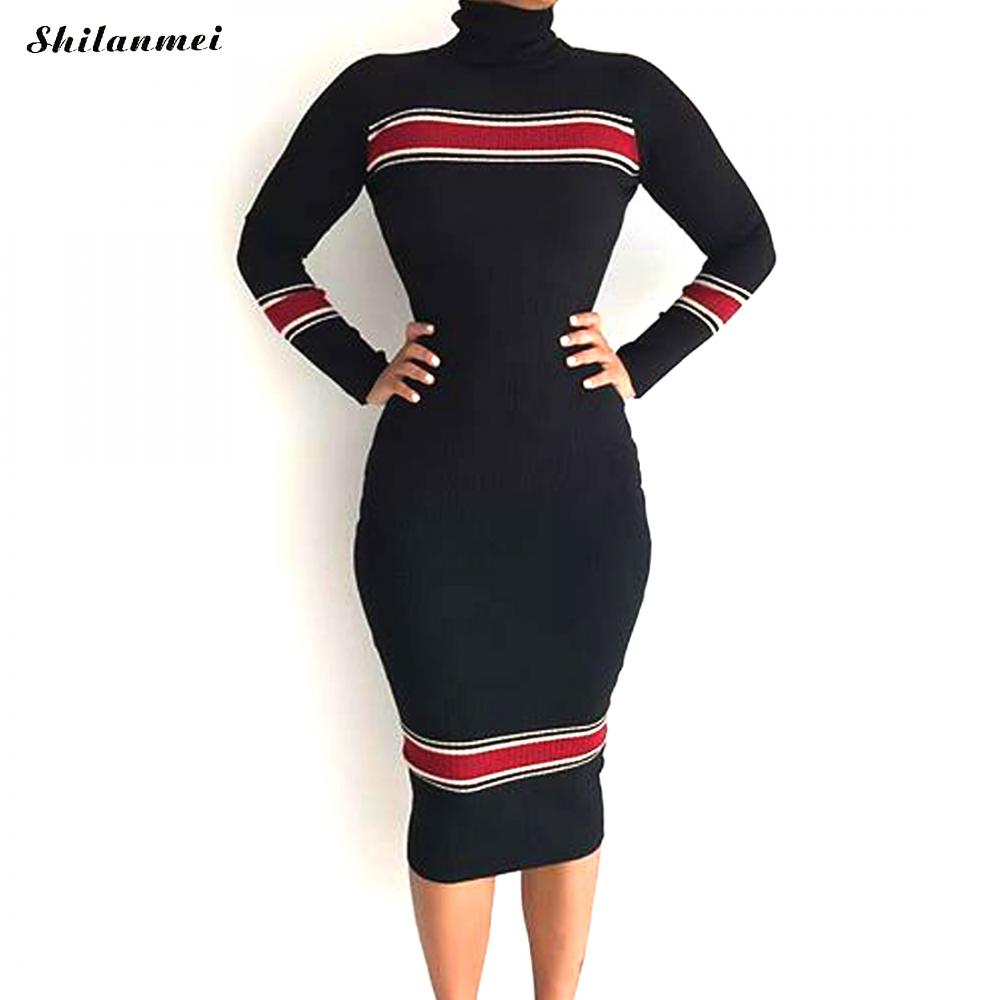 Turtleneck Spring Women Dresses Series Striped Fitness Elegant Knitted Sweater Work Dress Casual Bodycon Slim Midi Vestidos xl цена