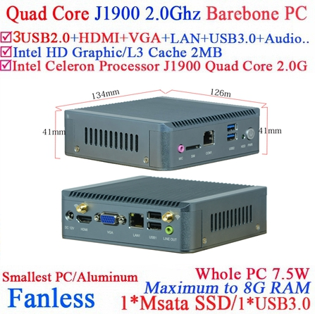 Single LAN Intel J1900 Baytrial Fanless Nano PC/system support WIFI/3G Barebone PC