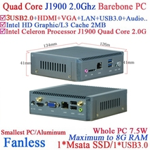 Один LAN Intel J1900 Baytrial Безвентиляторный Nano PC/система поддержки WI-FI/3 Г Barebone PC