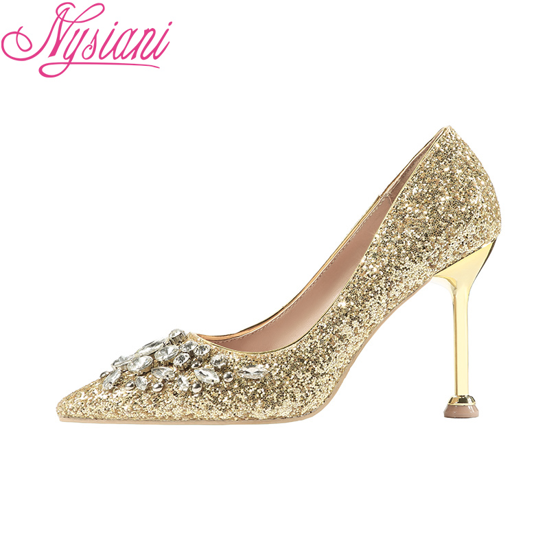 Nuit Nysiani 2019 Chaussures Pompes Bout Boîtes red Paillettes silver Mode Robe sur Talons Hauts gold Femmes Sexy De Slip Strass Black Pointu Tissu 7rUq8x7