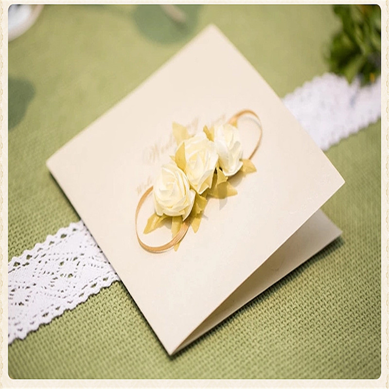 50pcs Romantic Elegant Flower Wedding Invitation Card Rose Artificials Flowers Birthday Party Greeting Cards With Envelope 2016
