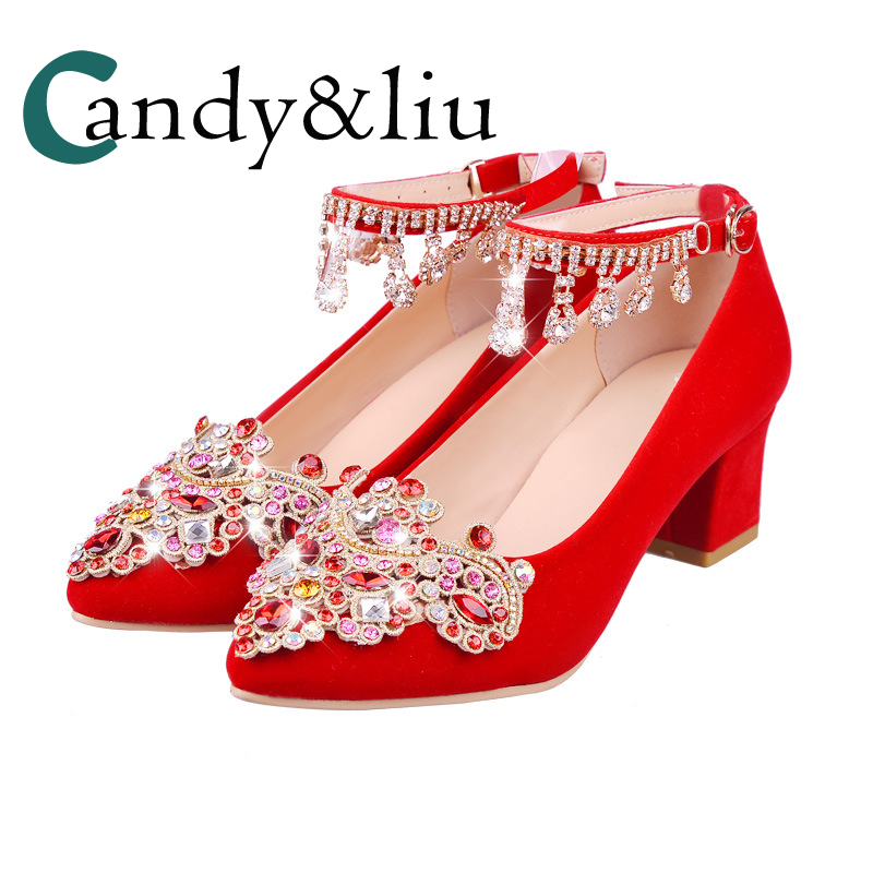 Chunky Wedding Heels: Chunky Heels Red Crystal Royal Court Style Wedding Shoes