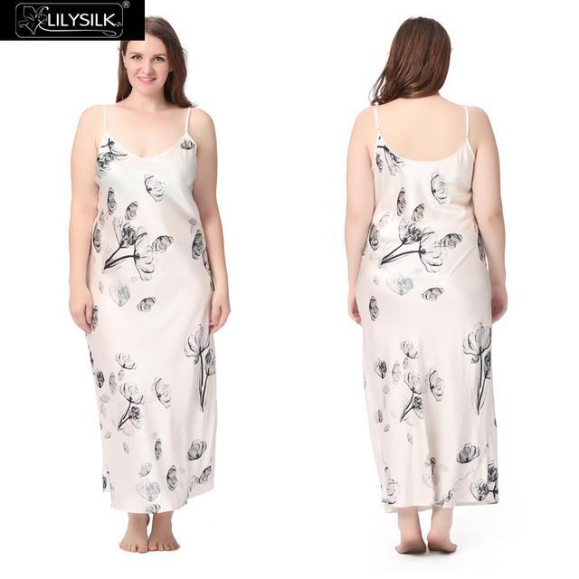 Lilysilk Sleepwear Pijama Natural Silk Night Dresses Women Plus Size 19 Momme Sexy White Floral Lotus Sleep Luxury Brand