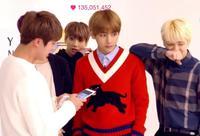 Kpop Home Bts Bangtan Boys Same Style Unisex Knit Sweatershirt Red V Neck Pullover