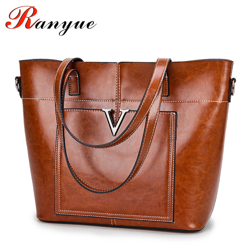 RANYUE Hot Sale V Women's Luxury Leather Tote Bag Ladies Handbags Brand Women Shoulder Bags Sac A Main Femme 2018 Long Handle hot sale 2016 france popular top handle bags women shoulder bags famous brand new stone handbags champagne silver hobo bag b075