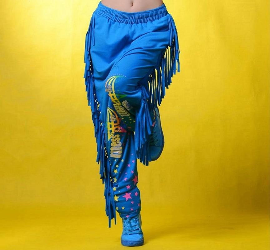 Costumes Harem-Pants Tassel Patchwork Hip-Hop Trousers Dance-Wear Women Fashion-Brand