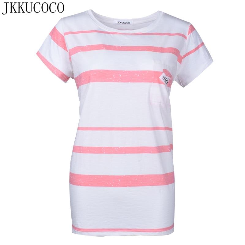 JKKUCOCO Nuevas Mujeres Ocasionales Flojas de La Camiseta de Manga Corta Del O-c