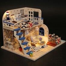 DIY Doll House Mini Villa Modell Miniatyr Med Möbler Trä Modell Handgjorda Sammansatta Pussel Leksaker Present Blue Coast M032 #E