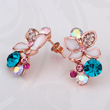 USTAR Lovely Colorful Austrian Crystals Flower Stud Earrings  Rose Gold for Fashion Wedding Jewelry Accessoriestop quality