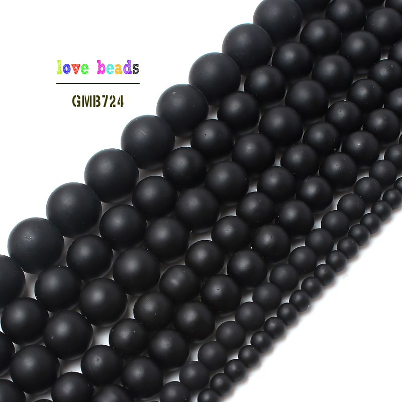 Natural Stone Black Matte Onyx Agates Round Beads Frost Dull Polish Agat Beads for Jewelry Making 15.5 inches 4 6 8 10 12mm