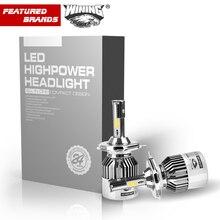 ВИНО автомобиля LED лампы H7 H8/H9/H11 HB3/9005 HB4/9006 9007 H4 h3 H1 96 Вт 2 шт. лампы авто передние противотуманные дрл лампы автомобильные фары