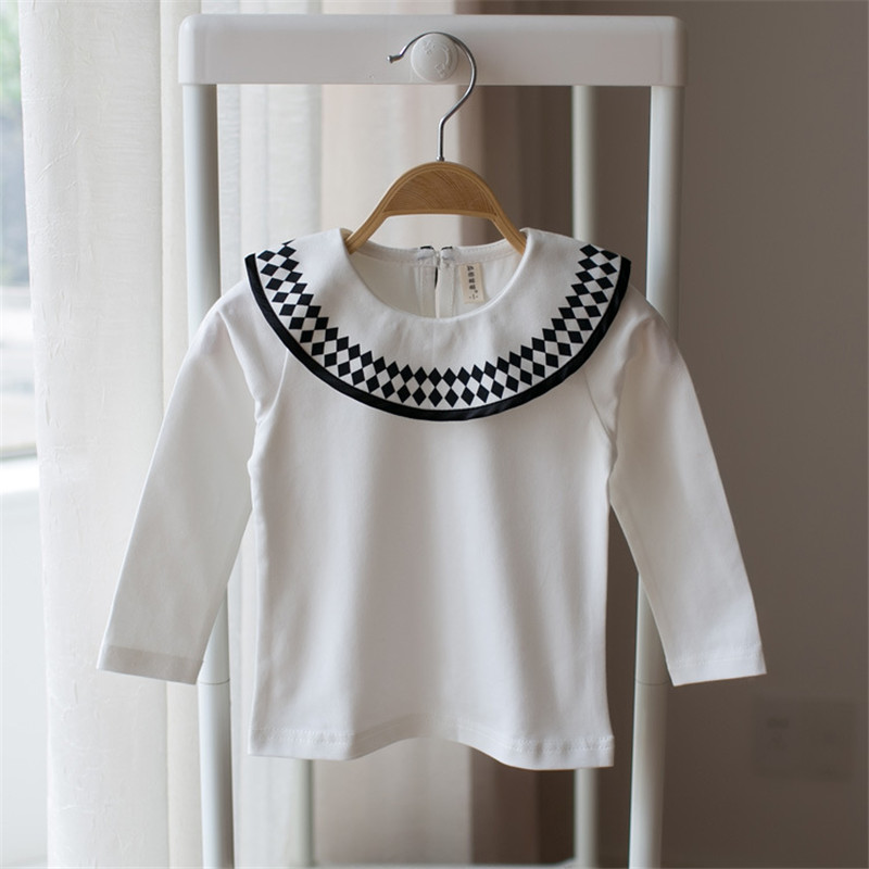 Tops & Tees Girls Tops Lotus Leaf Collar White Infant Baby Girls Clothes Geometry Diamond Spring Autumn New Design Girl Underwear Tops Tees