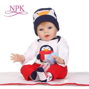 NPK 22inch 55 cm silicone reborn dolls wholesale lifelike baby boys newborn fashion doll Christmas gift