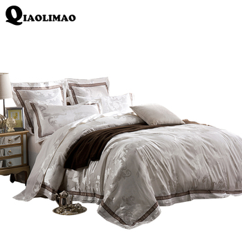 New 4/6 Pcs Sateen Jacquard Luxury Wedding Royal Bedding Sets King/Queen Size Bed set Cotton Bed Spread Duvet Cover /Pillowcases
