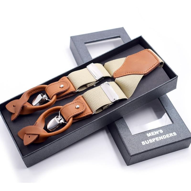 JIERKU Suspender Genuine Leather Suspenders Button Braces 3Clips Suspensorio Fashion Trousers Strap Father/Husband's Gift