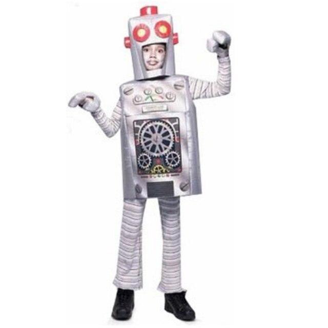 Enfants adulte halloween party cosplay argent Robot costume vêtements  combinaisons gilet gants et chapeau pour enfant f986b071349