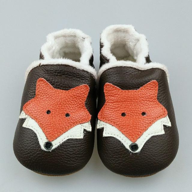 2016 Nuevo invierno cálido Zapatos Mocasines Zapatos de Bebé de Cuero Genuino fox estilo Bebé Recién Nacido primer caminante Zapatos del niño