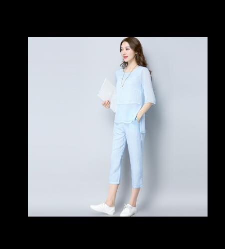 Due Pantaloni Slim Set Estate T Nuova Donne Vestito E 4 A 2 shirt 2018  Delle Lino Di ... 679921d277e