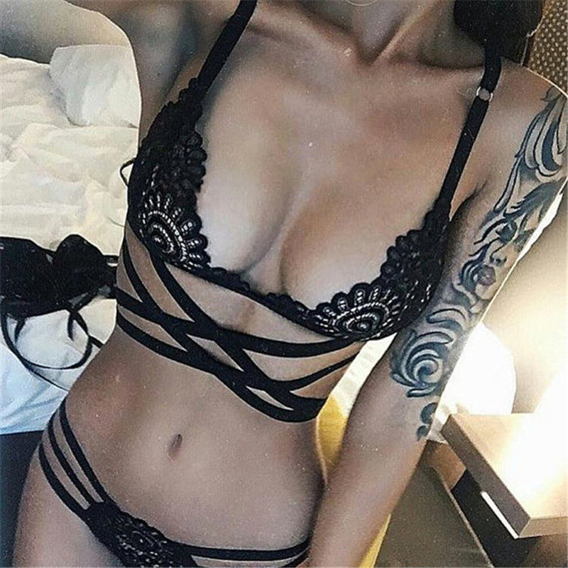 Porno Sexo Lingerie Sexy Hot Erotic Costumes Lace Perspective Bandage Babydoll Nightwear Hollow Out Women's Underwear Sleepwear