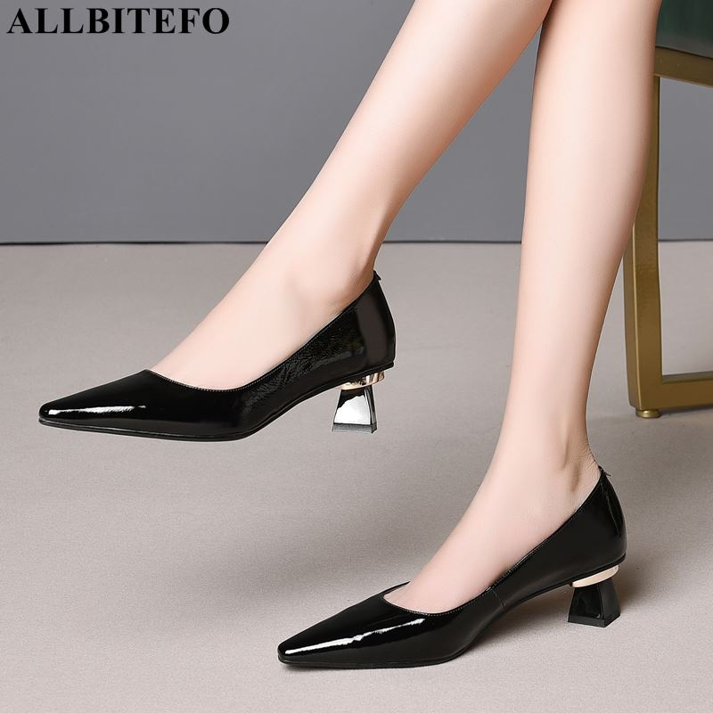 ALLBITEFO genuine leather high heel shoes women heels spring autumn pointed toe shoes office career comfortable