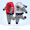 Дизайн бренда Новорожденных Девочек Одежда Устанавливает Милый Маленький усы Свитер + полосатые брюки Костюмы Малышей Дети Baby Boy Одежда Набор 0 ~ 2 Т