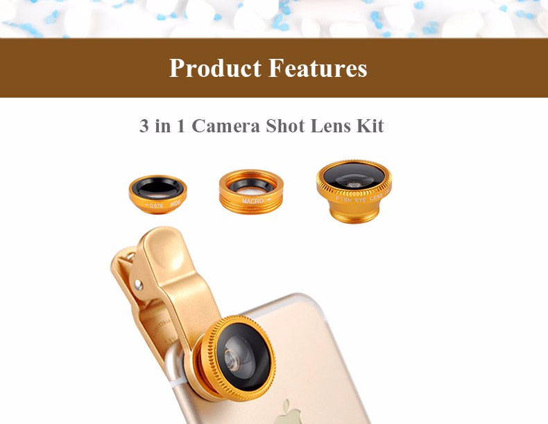 New Fish Eye lens,Wide Angle + Clear Macro Lens For Iphone 5s 6 7 Universal 3 in 1 Phone Camera Len For Sansung Huawei Sony HTC 9