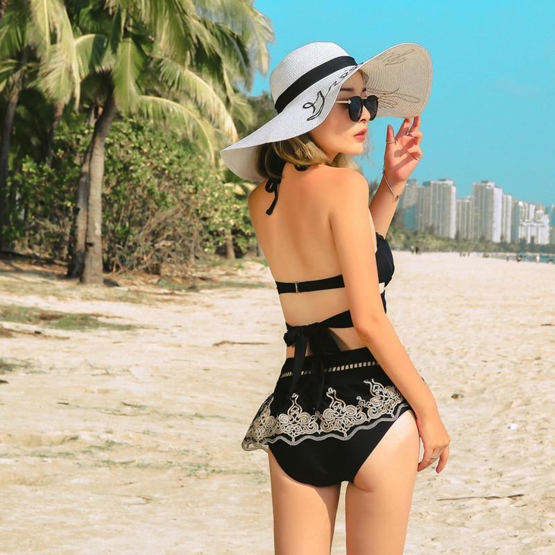 Summer Women'S Swimwear Three-Piece Solid Lace Decor Halter-Neck Straped High-Waist Cover Up Dress Lace-Up Bikinis Set Push Up 3