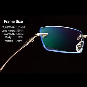 Image 2 - Men Eyewear C001 Diamond Trimming Cutting Rimless Eyeglasses Prescription Optical Glasses Frame for Man Spectacles