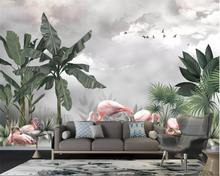 beibehang Custom photo 3d wallpaper Hand Painted HD Nordic plant flamingo landscape background wall papier peint